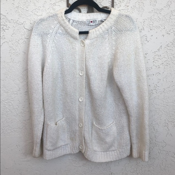 Vintage 60s LeRoy Cardigan Ivory Button Up with Pockets Women/'s Cardigan Sweater